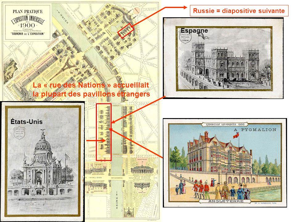 Espagne La « rue des Nations » accueillait la plupart des pavillons étrangers États-Unis Russie = diapositive suivante