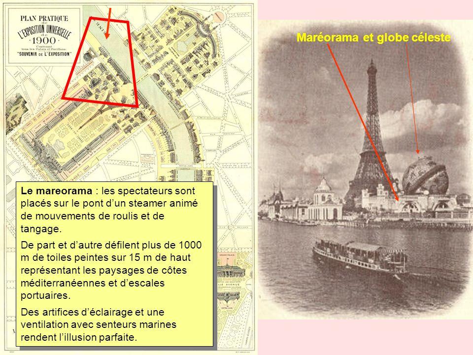 Maréorama et globe céleste Le mareorama : les spectateurs sont placés sur le pont dun steamer animé de mouvements de roulis et de tangage. De part et