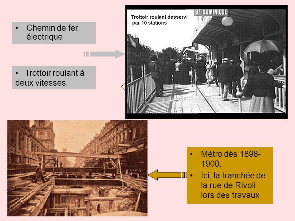 Chemin de fer électrique Métro dès 1898- 1900. Ici, la tranchée de la rue de Rivoli lors des travaux Trottoir roulant à deux vitesses. 4 km/h 8km/h Tr