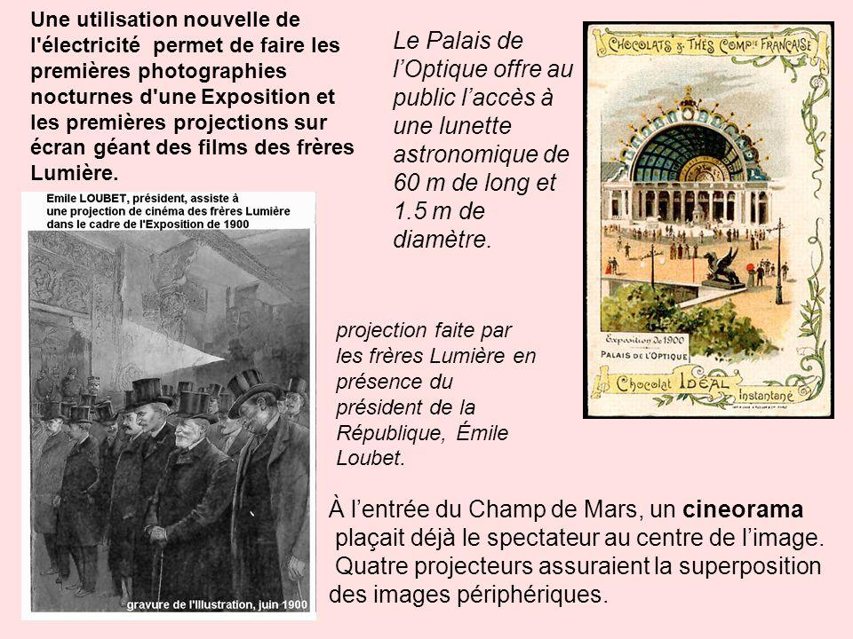 Une utilisation nouvelle de l'électricité permet de faire les premières photographies nocturnes d'une Exposition et les premières projections sur écra