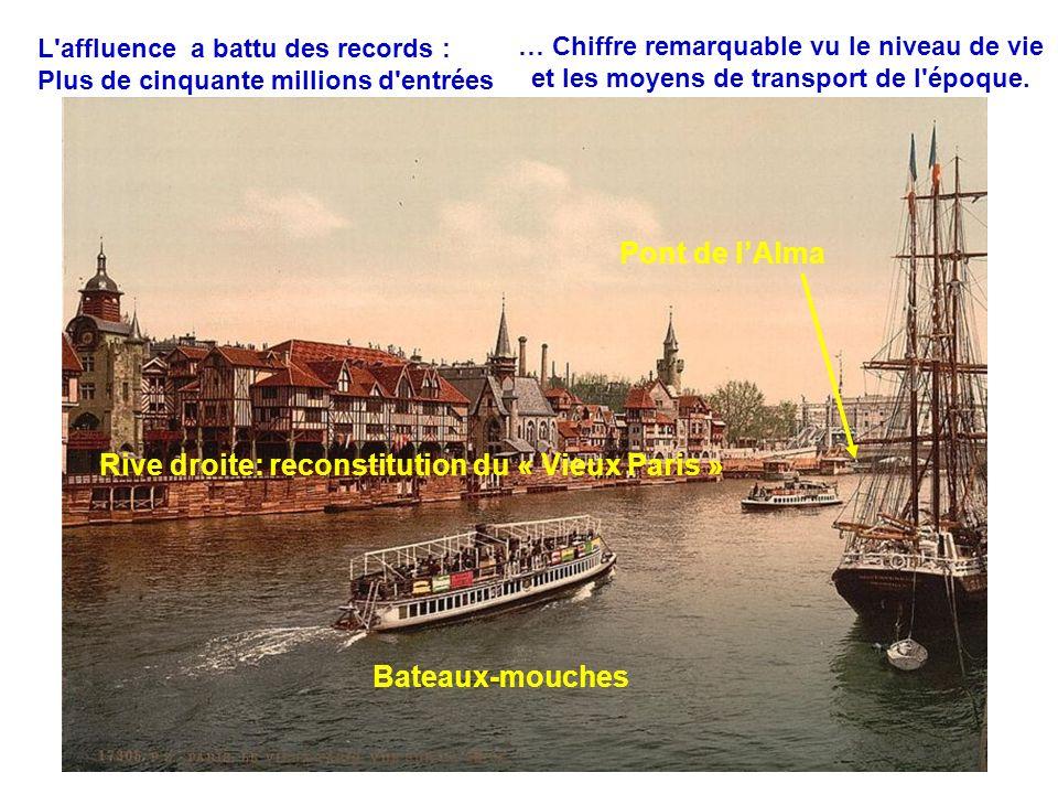 … Chiffre remarquable vu le niveau de vie et les moyens de transport de l'époque. L'affluence a battu des records : Plus de cinquante millions d'entré
