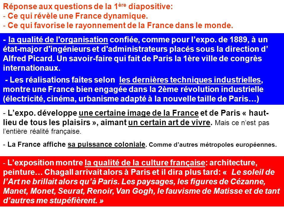 Réponse aux questions de la 1 ère diapositive: - Ce qui révèle une France dynamique. - Ce qui favorise le rayonnement de la France dans le monde. - Le