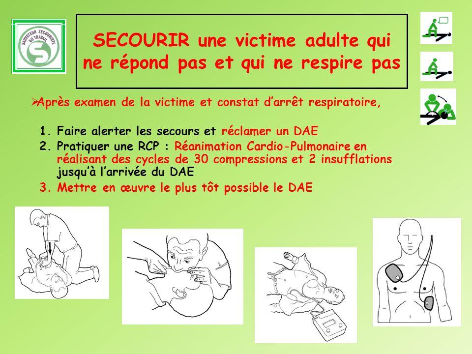 SECOURIR une victime adulte qui ne répond pas et qui ne respire pas 1.Faire alerter les secours et réclamer un DAE 2.Pratiquer une RCP : Réanimation C