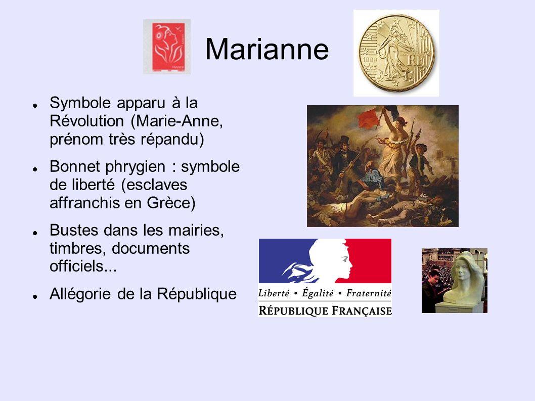 Marianne Symbole apparu à la Révolution (Marie-Anne, prénom très répandu) Bonnet phrygien : symbole de liberté (esclaves affranchis en Grèce) Bustes d