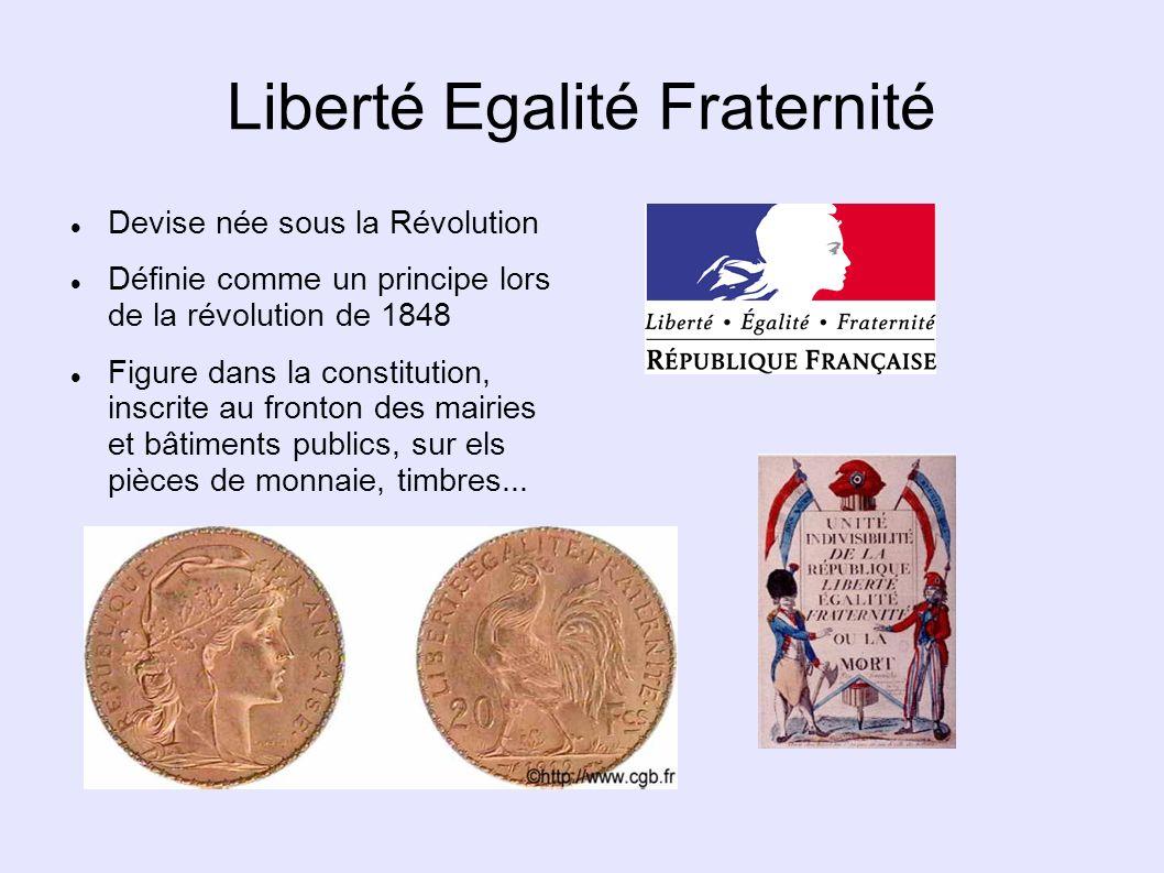 Liberté Egalité Fraternité Devise née sous la Révolution Définie comme un principe lors de la révolution de 1848 Figure dans la constitution, inscrite