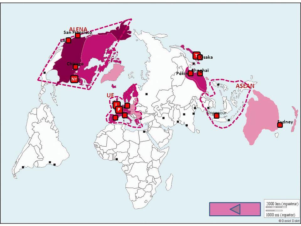 ALENA UE ASEAN NY L P T LA Sydney San Francisco Chicago Osaka Singapour Pékin Shnghaï