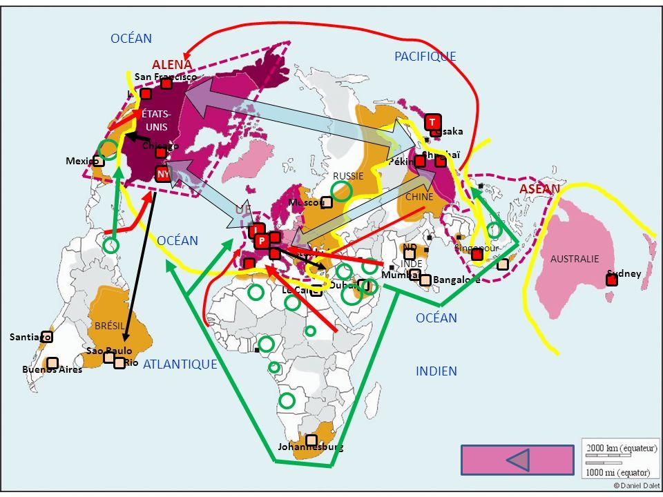 LESPACE MONDIALISÉ ET SES INÉGALITÉS Les aires de puissance La nouvelle TRIADE : les centres Lhyperpuissance affaiblie Périphéries et marges métropole mondiale (ville globale) Autres espaces de puissance Autres pays développés La Chine y prend place Organisations régionales auxquelles participent les puissances Autres métropoles des pays développés Les pays émergents : BRIC, BASIC et les périphéries intégrées Leurs métropoles Pays exportateurs de pétrole Territoires moins intégrés à la mondialisation.