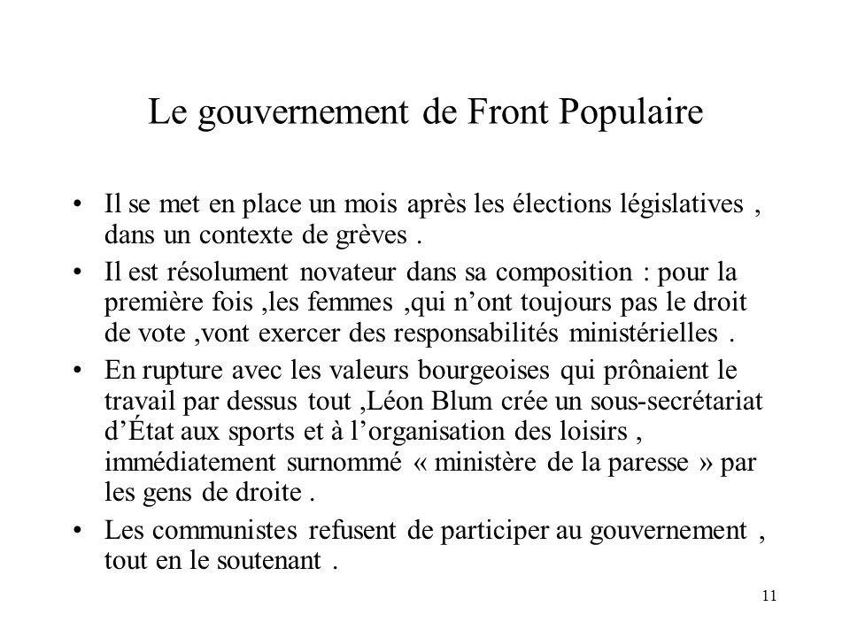 11 Le gouvernement de Front Populaire Il se met en place un mois après les élections législatives, dans un contexte de grèves. Il est résolument novat