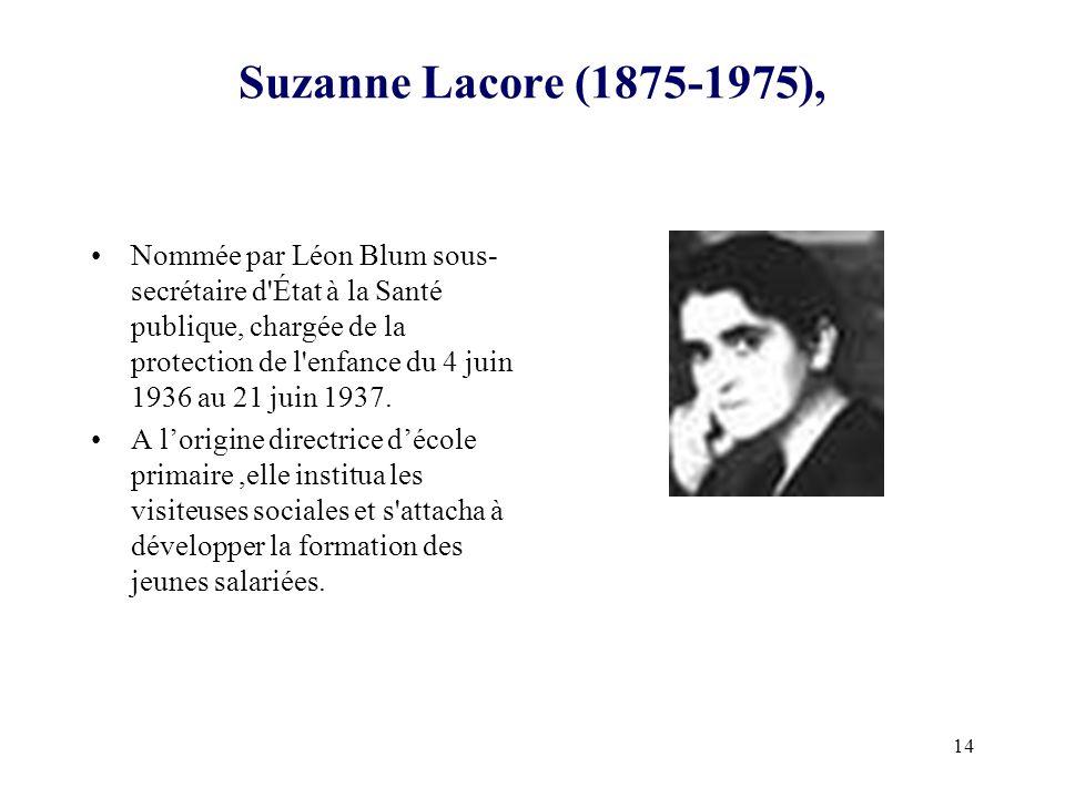 14 Suzanne Lacore (1875-1975), Nommée par Léon Blum sous- secrétaire d'État à la Santé publique, chargée de la protection de l'enfance du 4 juin 1936