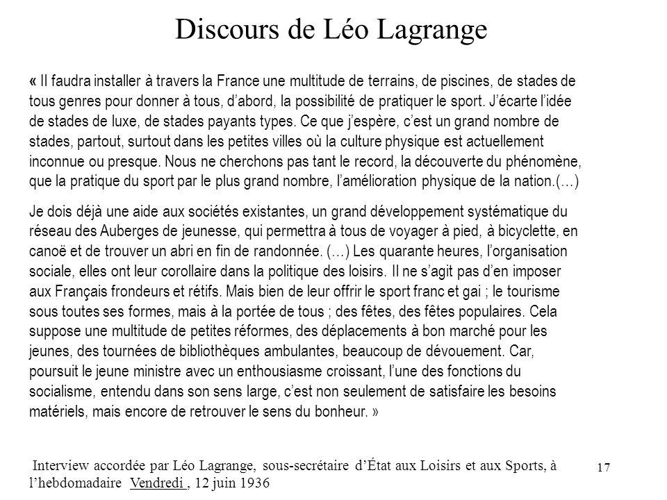 17 Discours de Léo Lagrange « Il faudra installer à travers la France une multitude de terrains, de piscines, de stades de tous genres pour donner à tous, dabord, la possibilité de pratiquer le sport.