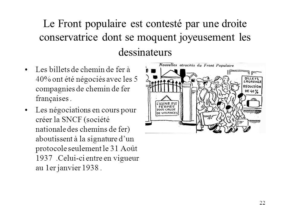 22 Le Front populaire est contesté par une droite conservatrice dont se moquent joyeusement les dessinateurs Les billets de chemin de fer à 40% ont été négociés avec les 5 compagnies de chemin de fer françaises.
