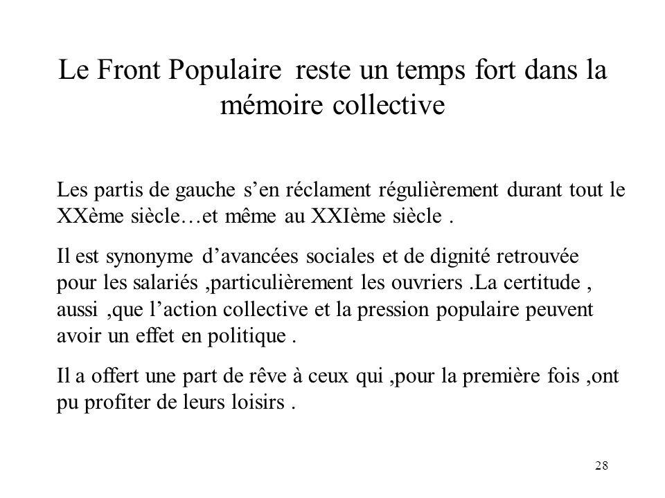 28 Le Front Populaire reste un temps fort dans la mémoire collective Les partis de gauche sen réclament régulièrement durant tout le XXème siècle…et même au XXIème siècle.