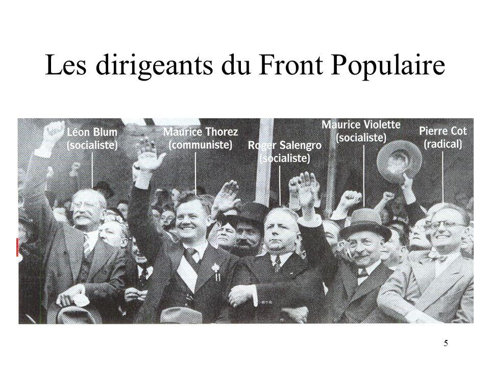 26 Le gouvernement Blum est fragilisé Les radicaux napprécient pas la politique de nationalisations dentreprises menée par Léon Blum.