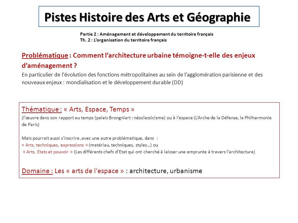 Partie 2 : Aménagement et développement du territoire français Th. 2 : Lorganisation du territoire français Pistes Histoire des Arts et Géographie Pis