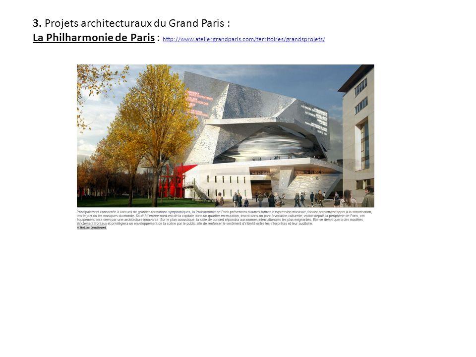 3. Projets architecturaux du Grand Paris : La Philharmonie de Paris : http://www.ateliergrandparis.com/territoires/grandsprojets/ http://www.ateliergr