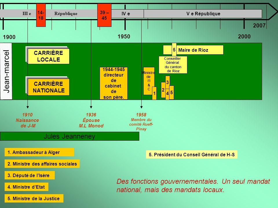 1900 19502000 Jean-marcel 1910 Naissance de J-M Jules Jeanneney IV e V e République Des fonctions gouvernementales. Un seul mandat national, mais des
