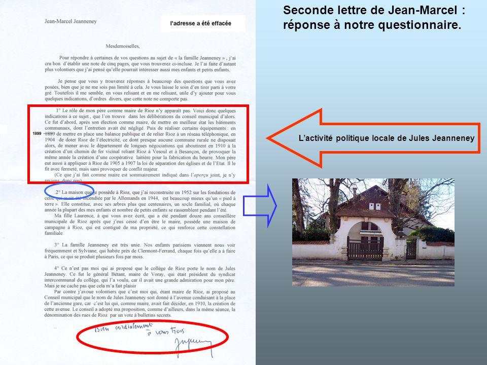 Seconde lettre de Jean-Marcel : réponse à notre questionnaire. Lactivité politique locale de Jules Jeanneney