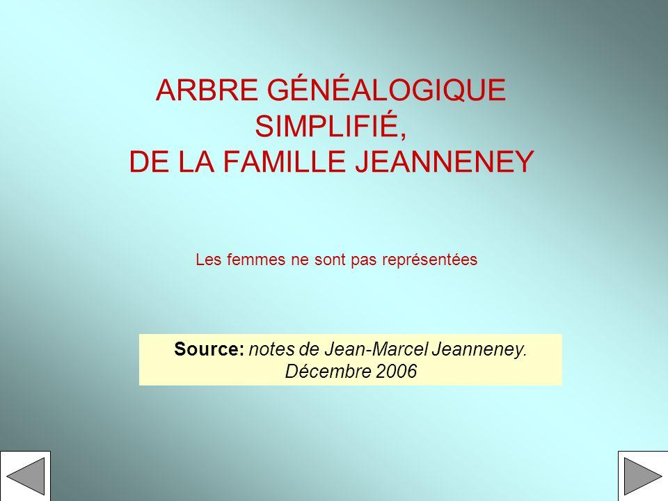 ARBRE GÉNÉALOGIQUE SIMPLIFIÉ, DE LA FAMILLE JEANNENEY Source: notes de Jean-Marcel Jeanneney. Décembre 2006 Les femmes ne sont pas représentées