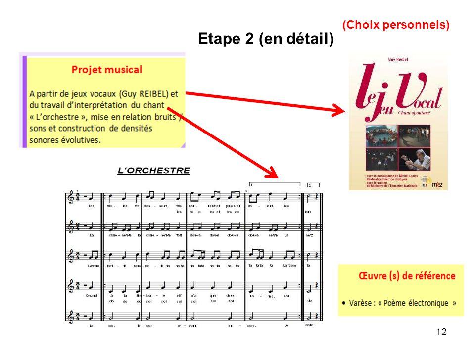 12 Etape 2 (en détail) (Choix personnels)