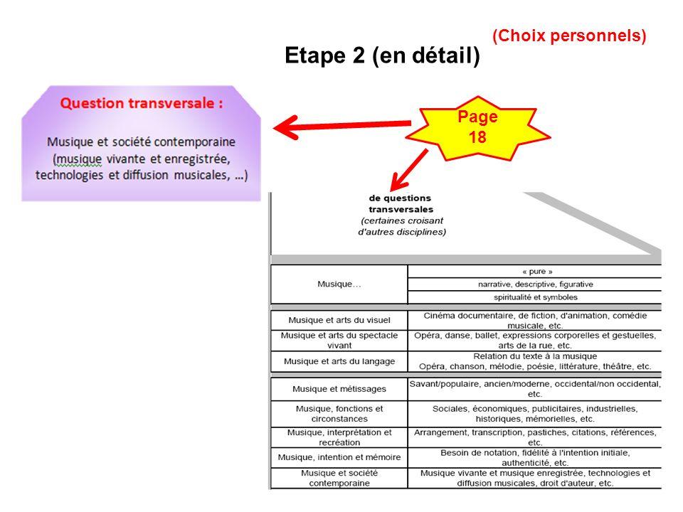 13 Etape 2 (en détail) Page 18 (Choix personnels)