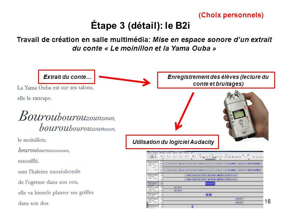 16 Étape 3 (détail): le B2i (Choix personnels) Travail de création en salle multimédia: Mise en espace sonore dun extrait du conte « Le moinillon et l