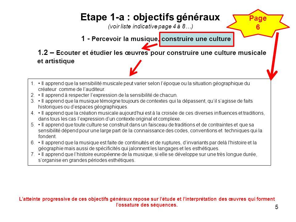 5 Etape 1-a : objectifs généraux (voir liste indicative page 4 à 8…) 1.2 – Ecouter et étudier les œuvres pour construire une culture musicale et artis