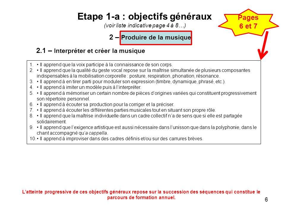 6 Etape 1-a : objectifs généraux (voir liste indicative page 4 à 8…) 2.1 – Interpréter et créer la musique 1. Il apprend que la voix participe à la co