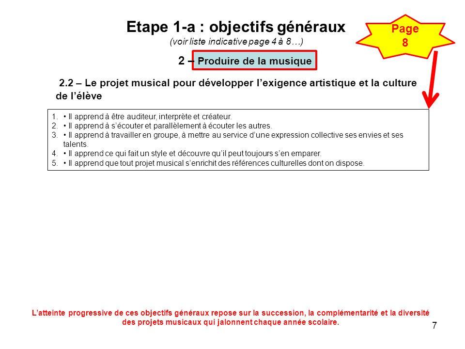 7 Etape 1-a : objectifs généraux (voir liste indicative page 4 à 8…) 2.2 – Le projet musical pour développer lexigence artistique et la culture de lél