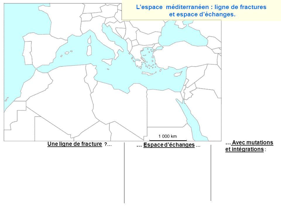Les puissances majeures (UE) Autres pays de lUE Des Nords Une limite Nord/sud PIB moyen PIB faible Pays sans façade méditerranéenne Des Suds Lieux de conflits ou de tensions graves Périphérie intégrée Lespace méditerranéen : ligne de fractures et espace déchanges.