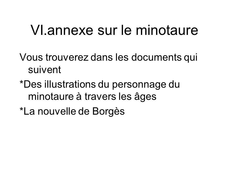 VI.annexe sur le minotaure Vous trouverez dans les documents qui suivent *Des illustrations du personnage du minotaure à travers les âges *La nouvelle de Borgès