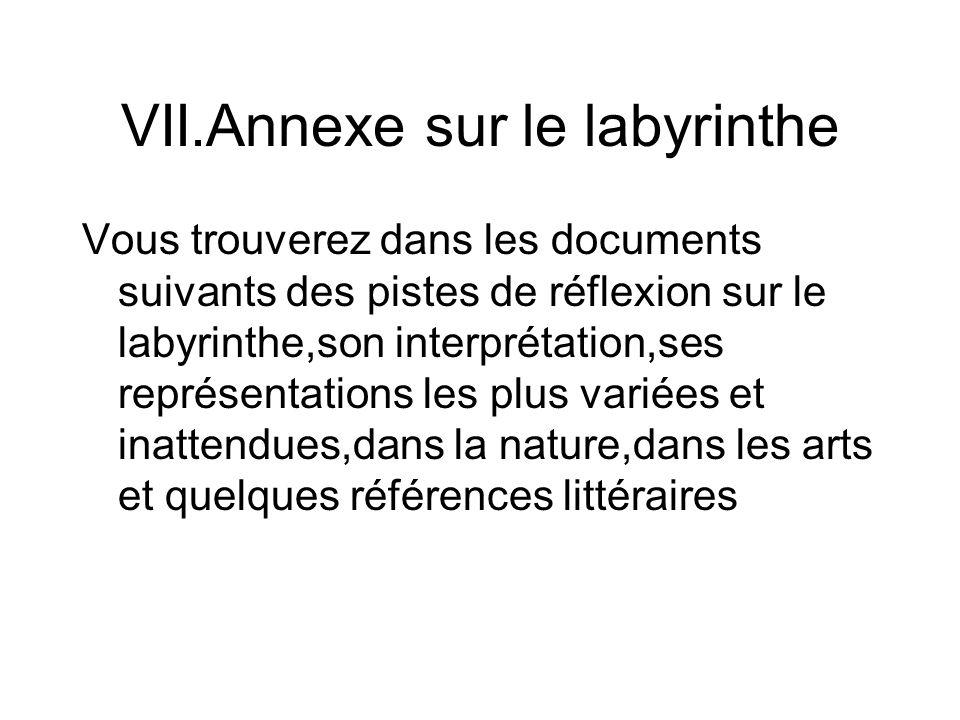 VII.Annexe sur le labyrinthe Vous trouverez dans les documents suivants des pistes de réflexion sur le labyrinthe,son interprétation,ses représentations les plus variées et inattendues,dans la nature,dans les arts et quelques références littéraires