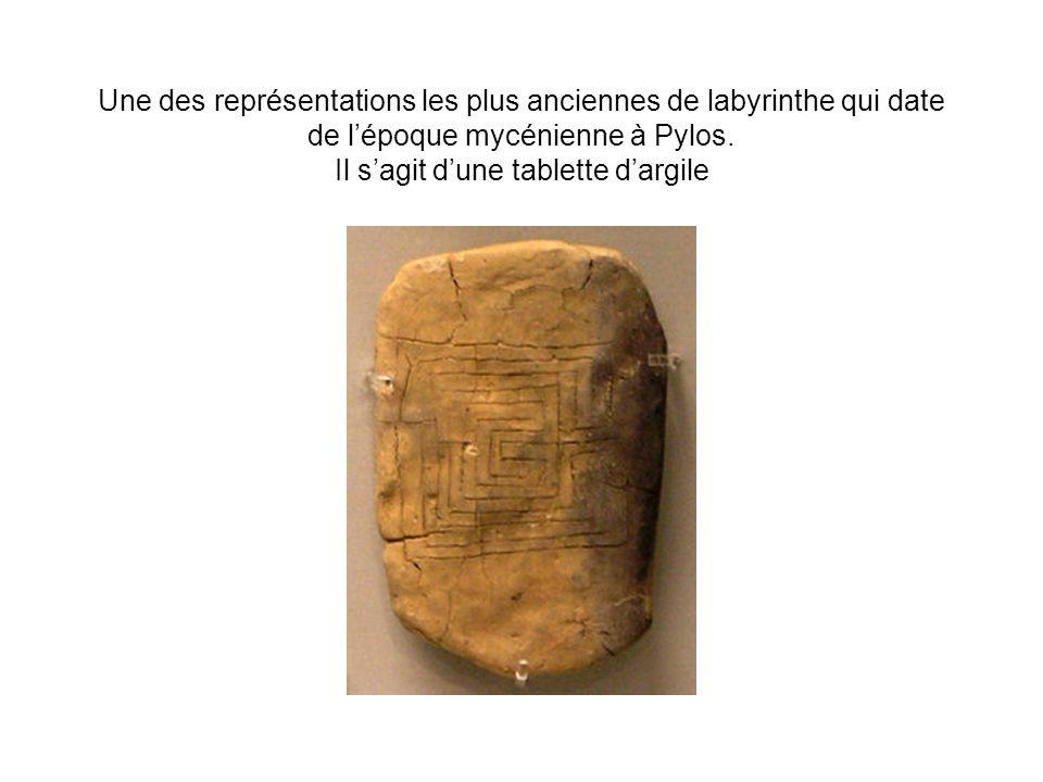 Une des représentations les plus anciennes de labyrinthe qui date de lépoque mycénienne à Pylos.