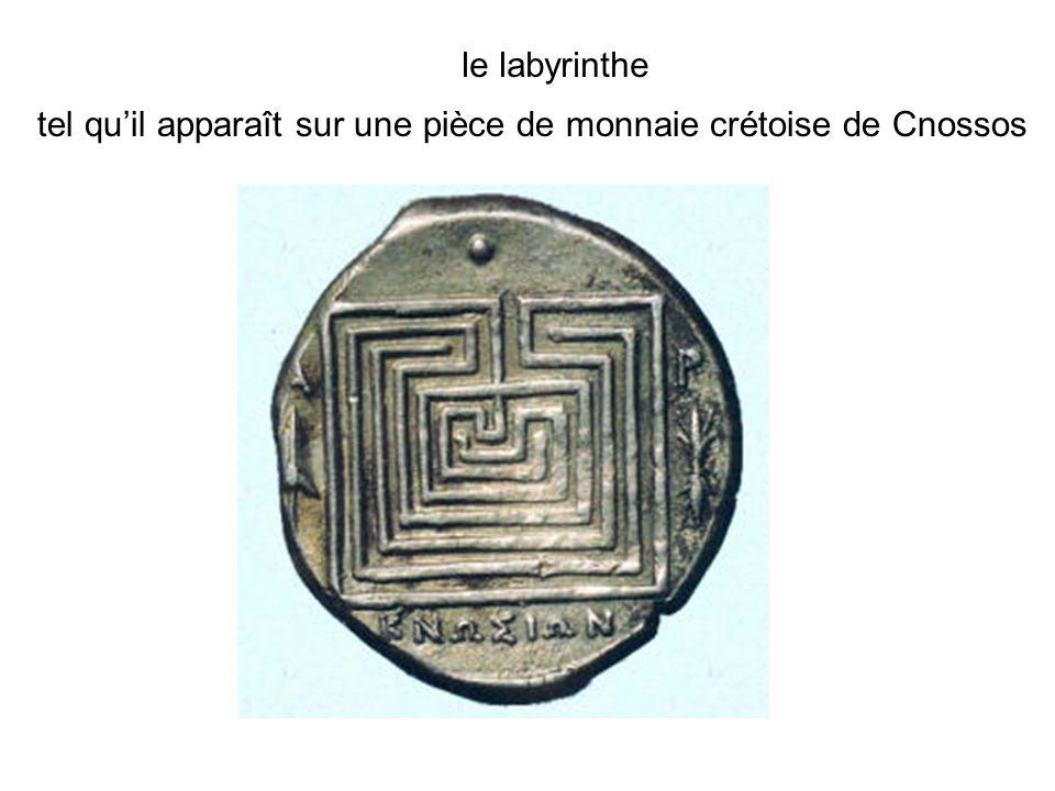 le labyrinthe tel quil apparaît sur une pièce de monnaie crétoise de Cnossos