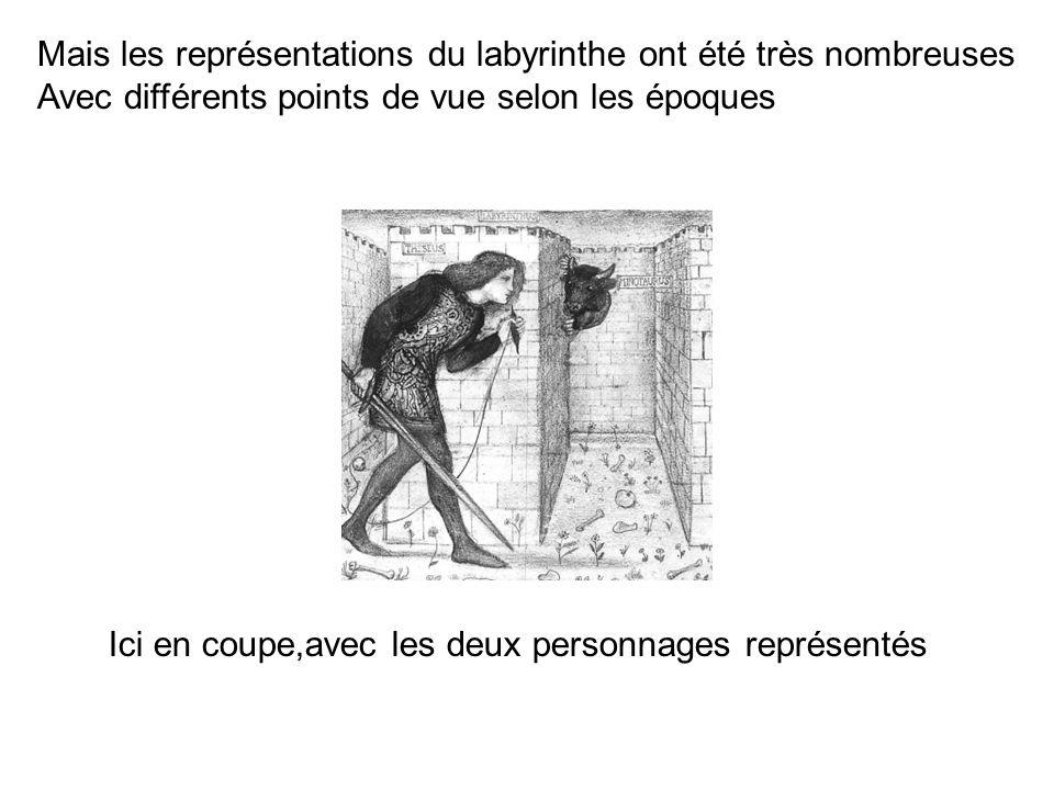 Mais les représentations du labyrinthe ont été très nombreuses Avec différents points de vue selon les époques Ici en coupe,avec les deux personnages représentés