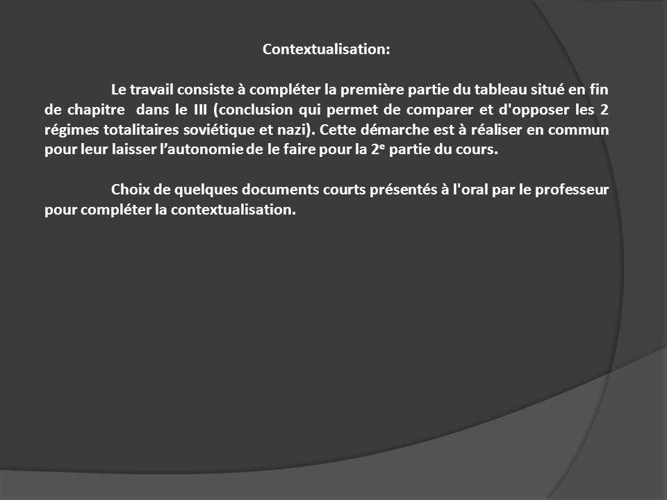 Contextualisation: Le travail consiste à compléter la première partie du tableau situé en fin de chapitre dans le III (conclusion qui permet de compar