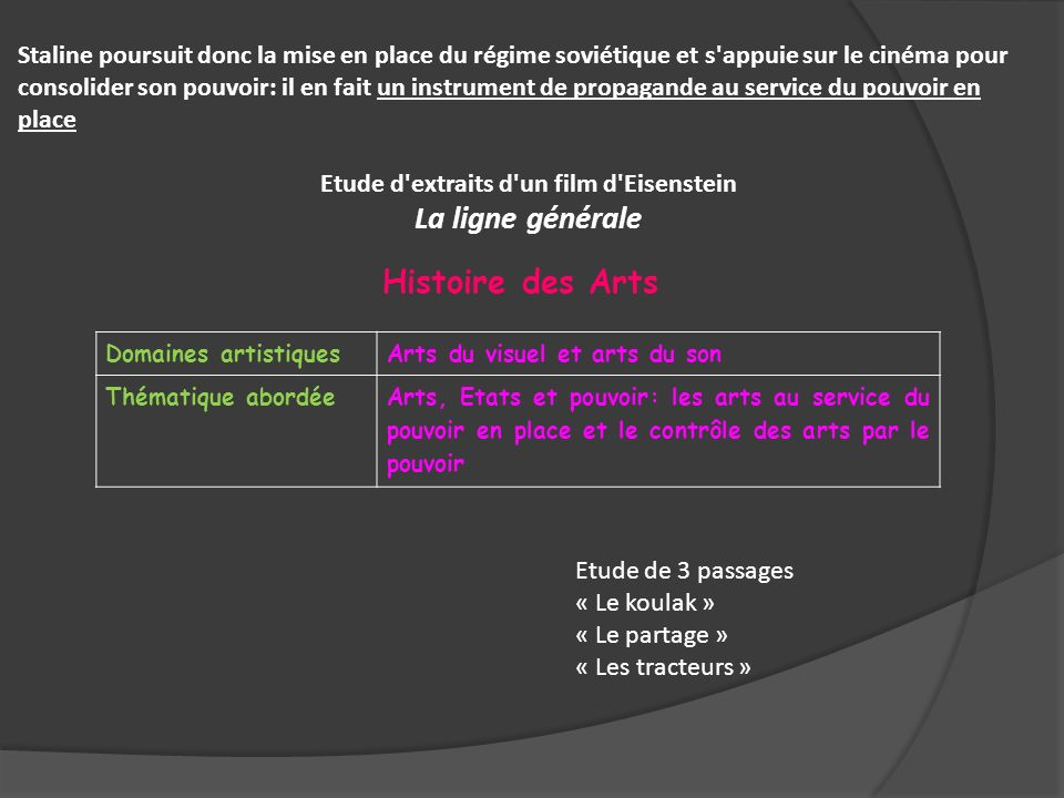 Domaines artistiquesArts du visuel et arts du son Thématique abordéeArts, Etats et pouvoir: les arts au service du pouvoir en place et le contrôle des