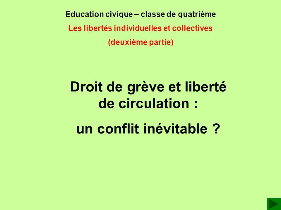 Education civique – classe de quatrième Les libertés individuelles et collectives (deuxième partie) Droit de grève et liberté de circulation : un conf