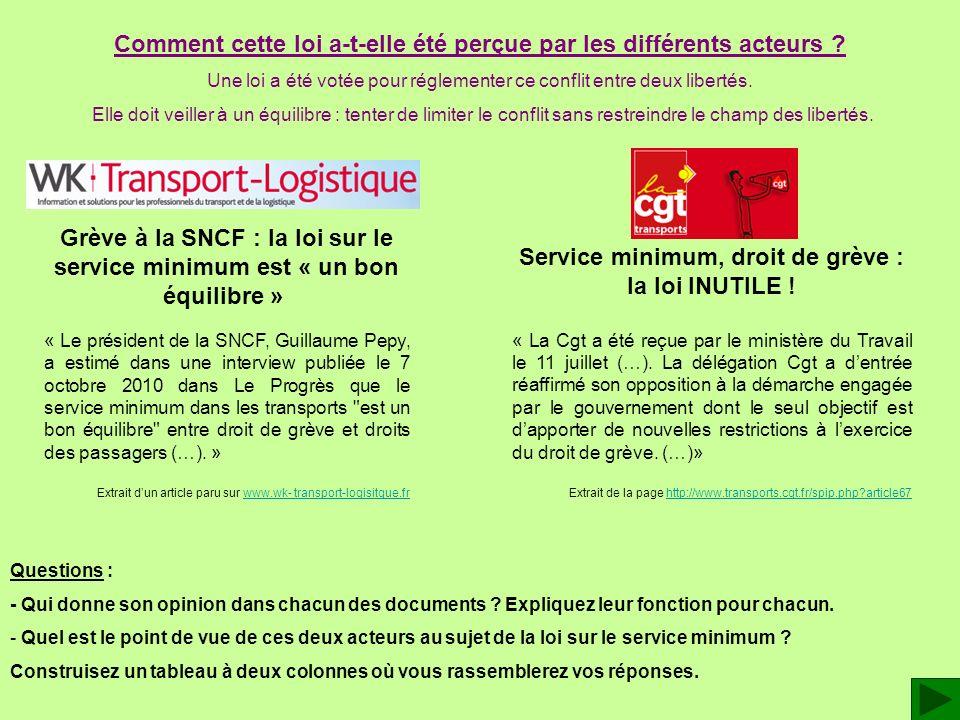 Service minimum, droit de grève : la loi INUTILE ! « La Cgt a été reçue par le ministère du Travail le 11 juillet (…). La délégation Cgt a dentrée réa