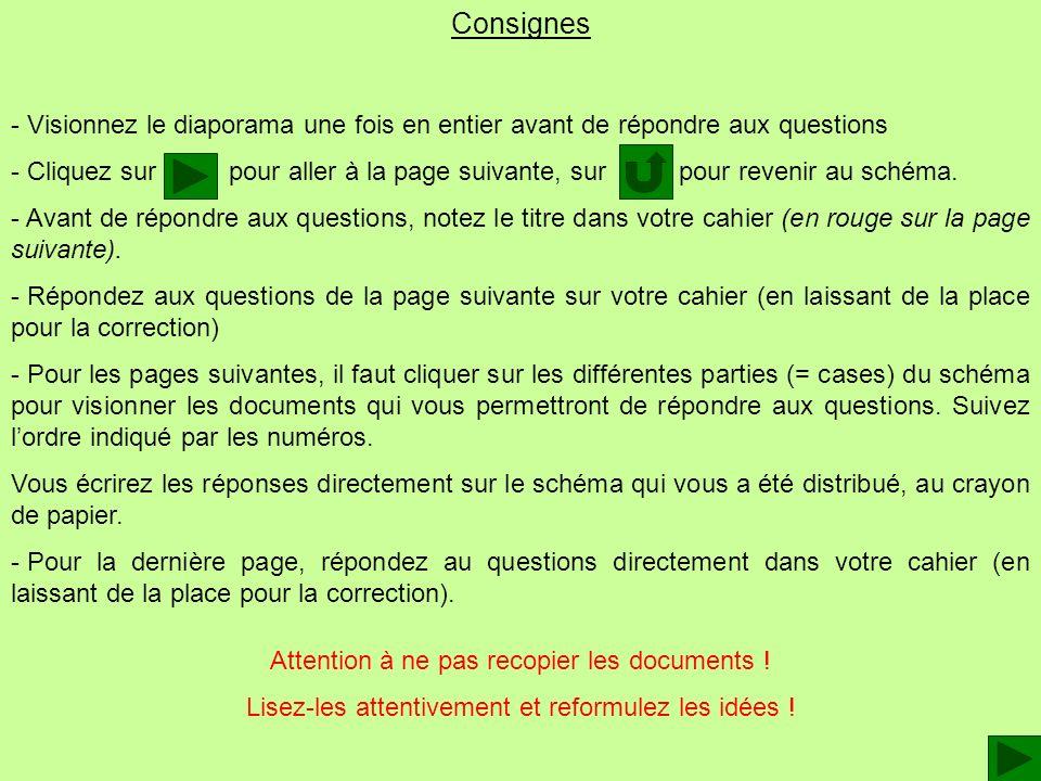 Consignes - V- Visionnez le diaporama une fois en entier avant de répondre aux questions - C- Cliquez sur pour aller à la page suivante, sur pour reve