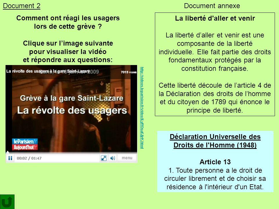 Comment ont réagi les usagers lors de cette grève ? Clique sur limage suivante pour visualiser la vidéo et répondre aux questions: http://videos.lepar