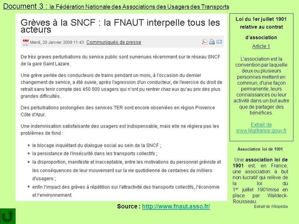 Source : http://www.fnaut.asso.fr/http://www.fnaut.asso.fr/ Document 3 : la Fédération Nationale des Associations des Usagers des Transports Associati