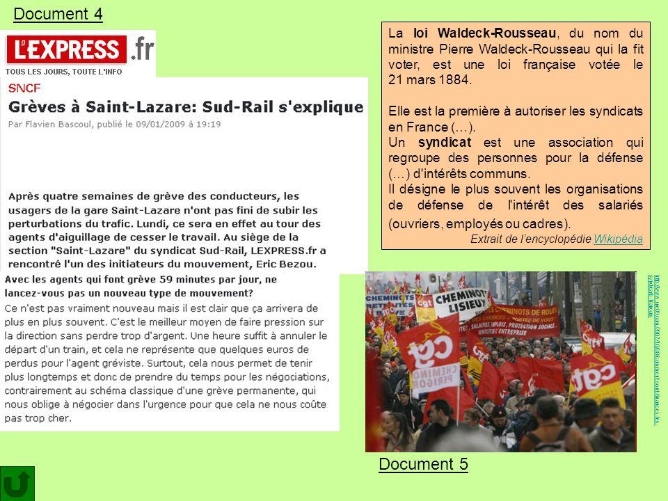http://www.rue89.com/2007/10/08/comment-sont-finances-les-syndicats-francais Document 4 Document 5 La loi Waldeck-Rousseau, du nom du ministre Pierre