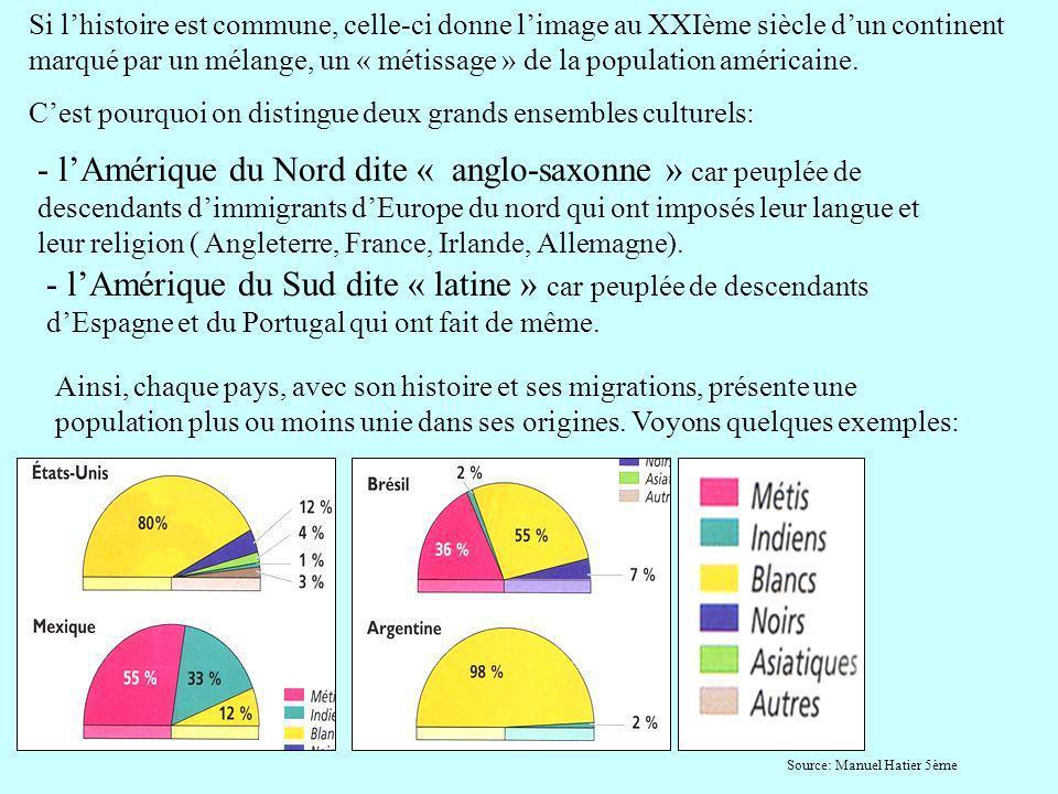 Si lhistoire est commune, celle-ci donne limage au XXIème siècle dun continent marqué par un mélange, un « métissage » de la population américaine. Ce