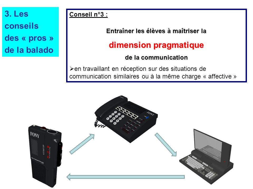Conseil n°3 : Entraîner les élèves à maîtriser la dimension pragmatique de la communication en travaillant en réception sur des situations de communication similaires ou à la même charge « affective » 3.