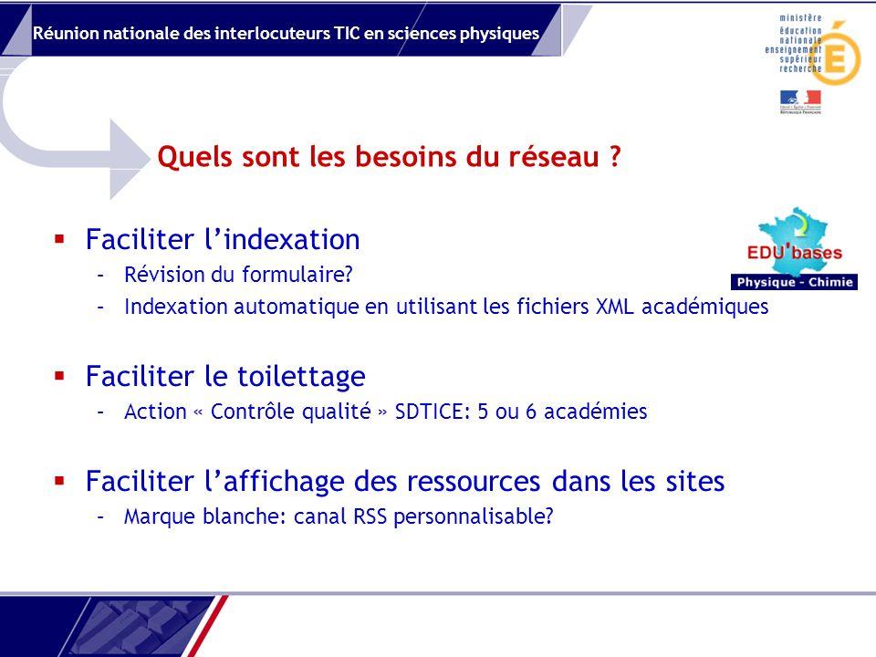 Réunion nationale des interlocuteurs TIC en sciences physiques Quels sont les besoins du réseau .