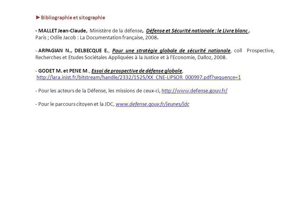 Bibliographie et sitographie - MALLET Jean-Claude, Ministère de la défense, Défense et Sécurité nationale : le Livre blanc, Paris ; Odile Jacob : La D