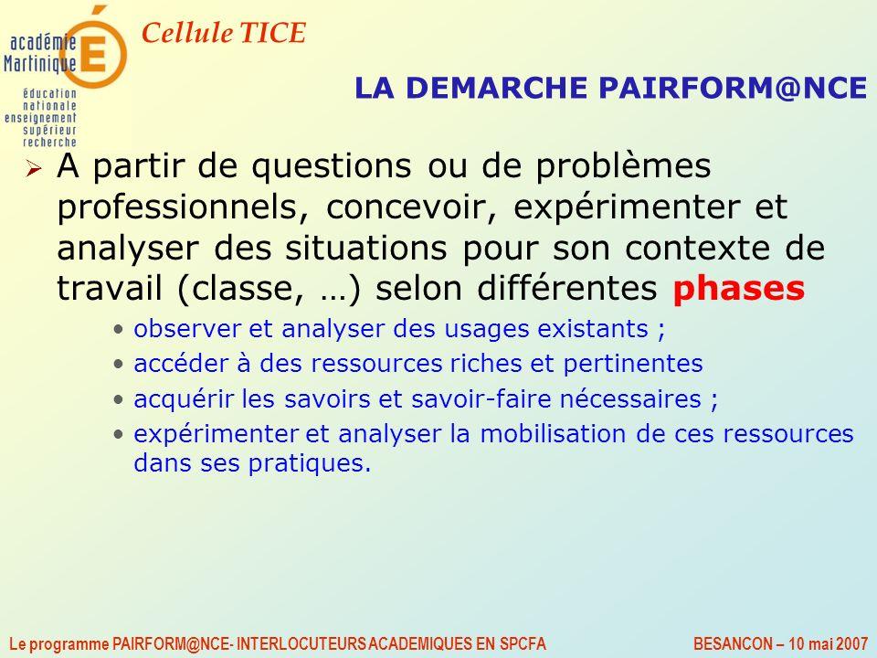 Cellule TICE Le programme PAIRFORM@NCE- INTERLOCUTEURS ACADEMIQUES EN SPCFA BESANCON – 10 mai 2007 LA DEMARCHE PAIRFORM@NCE A partir de questions ou d
