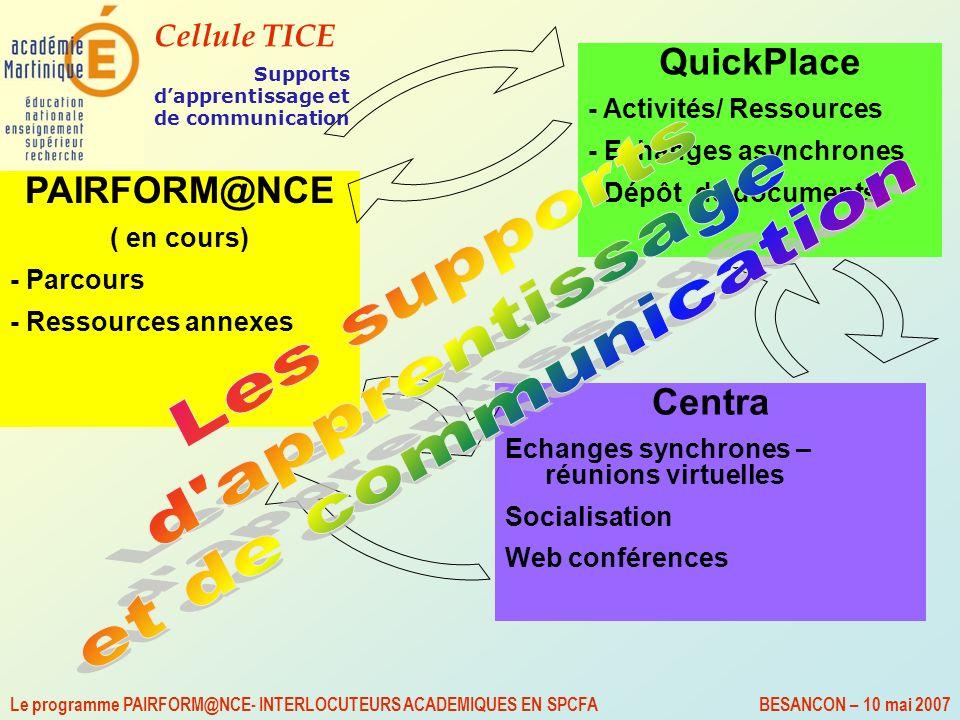 Cellule TICE Le programme PAIRFORM@NCE- INTERLOCUTEURS ACADEMIQUES EN SPCFA BESANCON – 10 mai 2007 PAIRFORM@NCE ( en cours) - Parcours - Ressources an