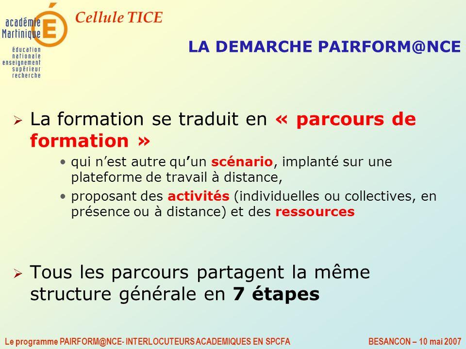Cellule TICE Le programme PAIRFORM@NCE- INTERLOCUTEURS ACADEMIQUES EN SPCFA BESANCON – 10 mai 2007 LA DEMARCHE PAIRFORM@NCE La formation se traduit en