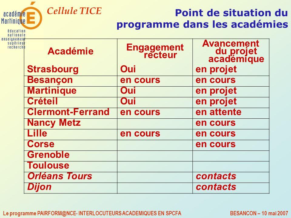 Cellule TICE Le programme PAIRFORM@NCE- INTERLOCUTEURS ACADEMIQUES EN SPCFA BESANCON – 10 mai 2007 Point de situation du programme dans les académies